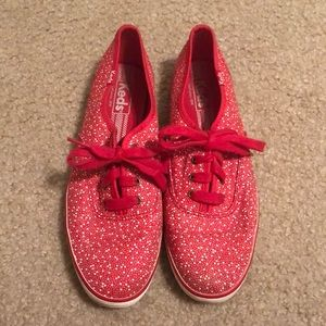 Red and white Keds